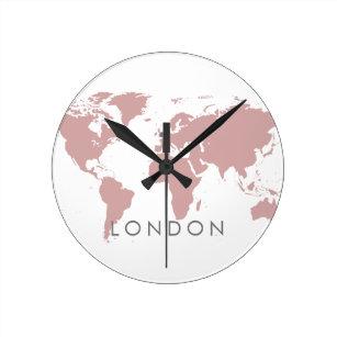 World Clock Custom Elegant City Time Zone Pink