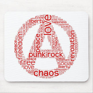 World cloud in anarchy shape mouse pad