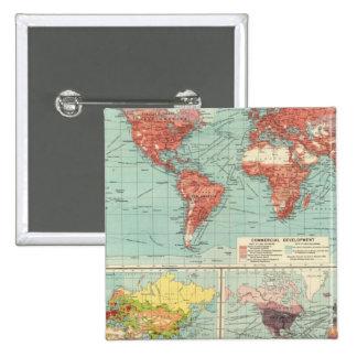 World commerce Map 15 Cm Square Badge