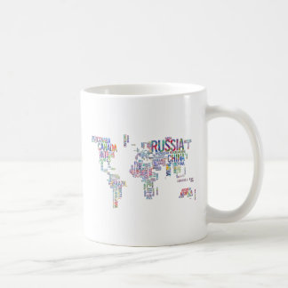World Countries Watercolor Typography Coffee Mug