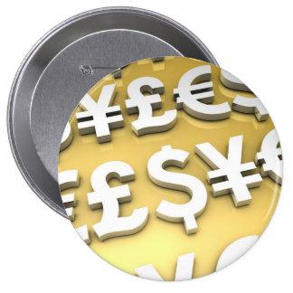 World Currencies Gold International Finance Wealth 10 Cm Round Badge