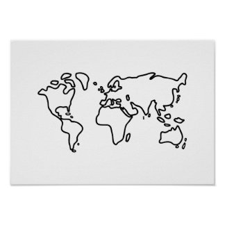 World earth map of the world of continents poster