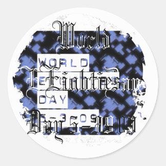 world eighties day round sticker