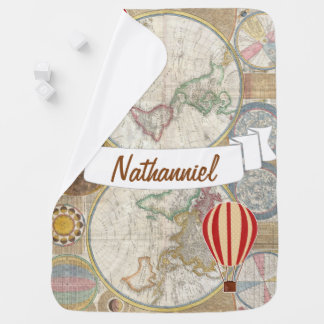 World Explorer Hot Air Balloons - Personalized Baby Blanket