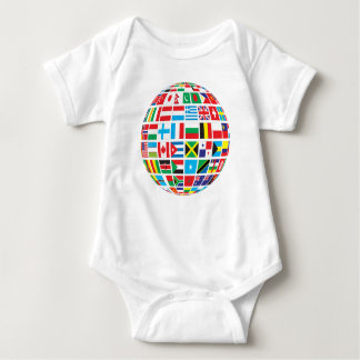 World Flags Globe Baby Bodysuit