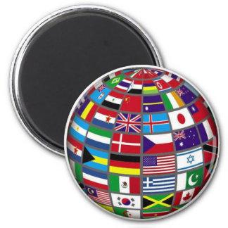 World Flags Globe Magnet