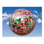 World Flags in a Globe Postcard