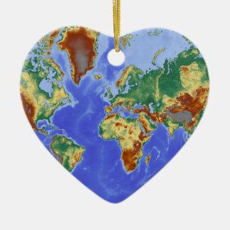 World Geographic International Map Ceramic Heart Decoration