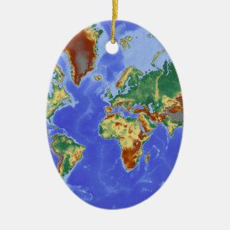 World Geographic International Map Ceramic Oval Decoration