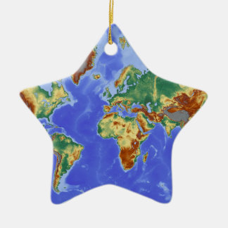 World Geographic International Map Ceramic Star Decoration