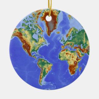 World Geographic International Map Round Ceramic Decoration