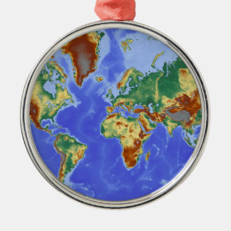 World Geographic International Map Silver-Colored Round Decoration