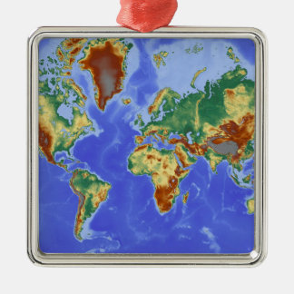 World Geographic International Map Silver-Colored Square Decoration