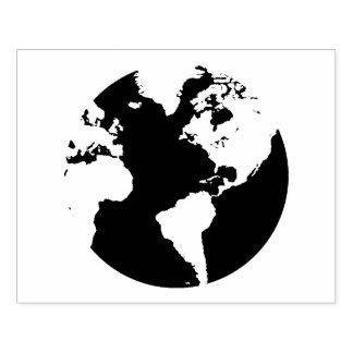 World Globe Continent Design Stamp