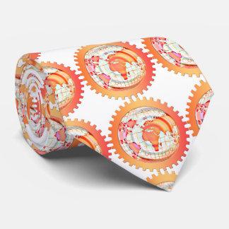 World, globe, continents. Orange and white Tie