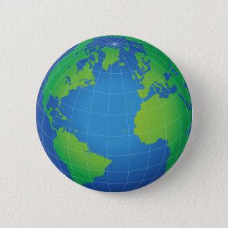 World Globe Map 6 Cm Round Badge