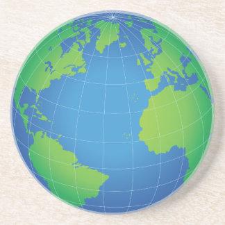 World Globe Map Drink Coasters