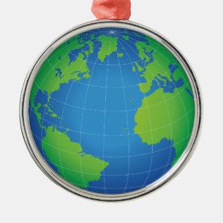 World Globe Map Metal Ornament