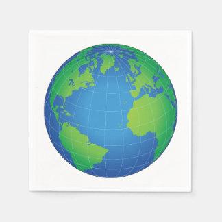 World Globe Map Paper Napkin