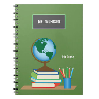 World Globe on Stack of Books Personalized Teacher