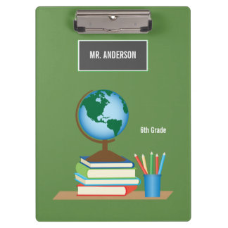 World Globe on Stack of Books Personalized Teacher Clipboard