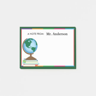 World Globe on Stack of Books Personalized Teacher Post-it Notes