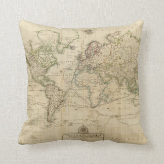 World Hand Colored map Cushion