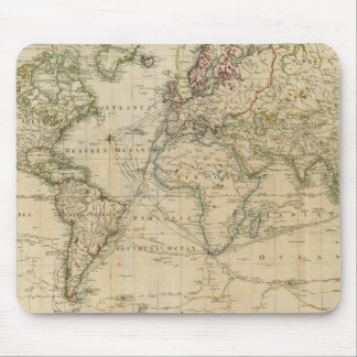 World Hand Colored map Mouse Pad