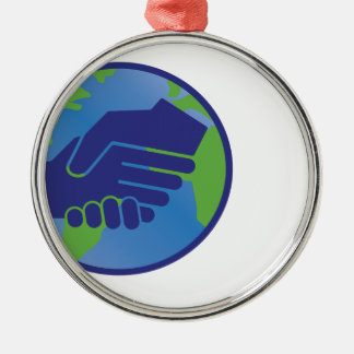 World Handshake Silver-Colored Round Decoration