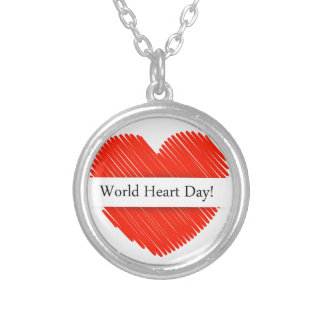 World Heart Day with a scribbled red heart Silver Plated Necklace