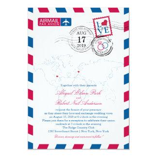 World Locations USA and Germany Airmail | Wedding 13 Cm X 18 Cm Invitation Card