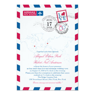 World Locations USA and Germany Airmail | Wedding 13 Cm X 18 Cm Invitation Card