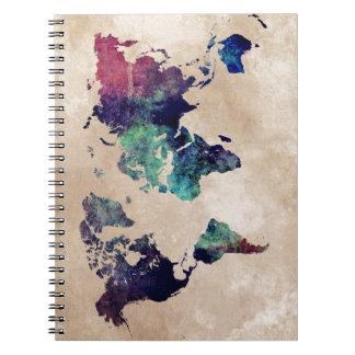 world map 10 spiral notebook