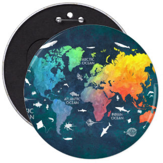world map 12 6 cm round badge