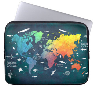 world map 12 laptop sleeve