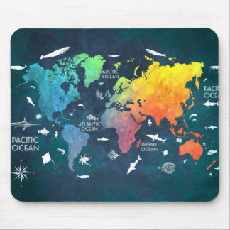 world map 12 mouse pad