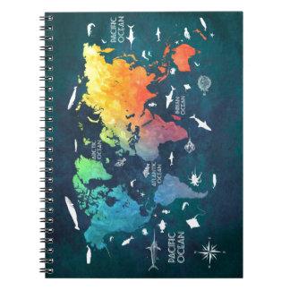 world map 12 notebook