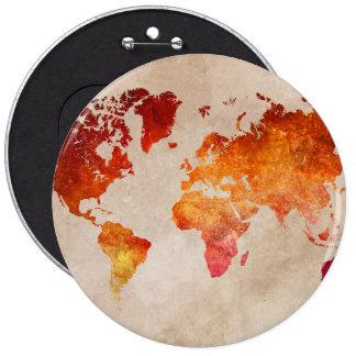 world map 13 6 cm round badge