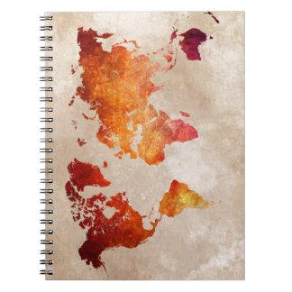 world map 13 spiral notebook