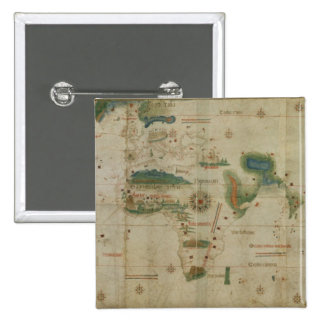 World Map 15 Cm Square Badge