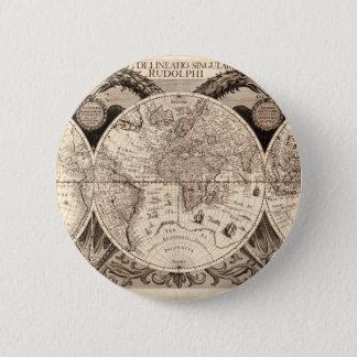 world map 1600 latin original black&white 6 cm round badge