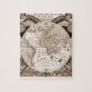 world map 1600 latin original black&white jigsaw puzzle