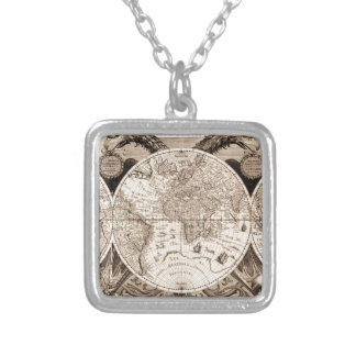world map 1600 latin original black&white silver plated necklace
