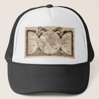 world map 1600 latin original black&white trucker hat