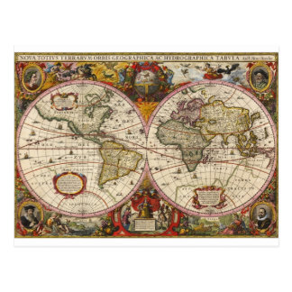 World Map 1630 Postcard