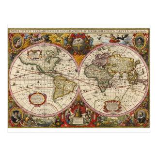 World Map 1630 Postcard