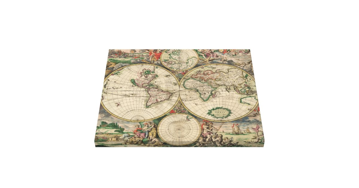 world map 1671 canvas print zazzle