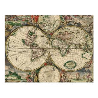 World Map 1689 print Post Card