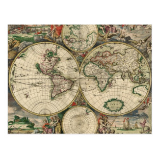 World Map 1689 print Postcard