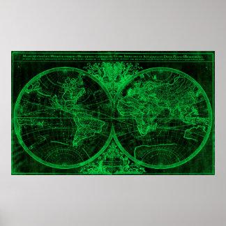 World Map (1691) Black & Green Poster